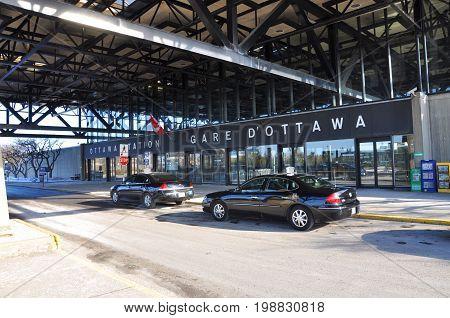 OTTAWA, CANADA - MAR. 10, 2012: Ottawa Train Station on 200 Tremblay Road in Ottawa, Ontario, Canada.