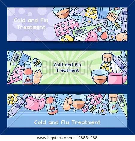 Banners with medicines and medical objects. Treatment of cold and flu.