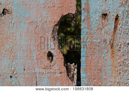 Wooden fence with a visible structure painted in more peeled off layers creating blue and pink combination. Hole in the wood in a shape of a half of a heart.