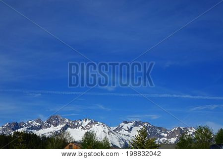 Snow-Covered and jagged Sawtooth Mountains near Stanley, Idaho.