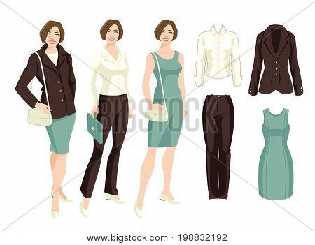 Vector illustration of corporate dress code. Variations look with suit, dress and blouse, Young business women or teacher in formal clothes