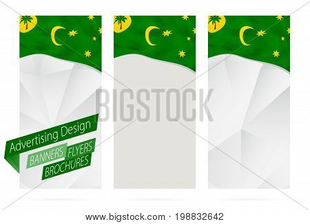 Design Of Banners, Flyers, Brochures With Flag Of Cocos Islands.