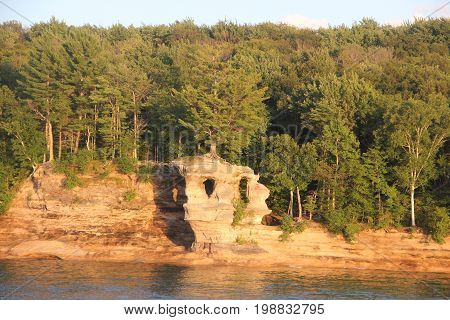 Chapel Rock a rock formation on the shore of Lake Superior.  Pictured Rocks National Lakeshore, Upper Peninsula of Michigan