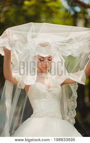 Bride Hidden By A Veil For A Walk In The Park