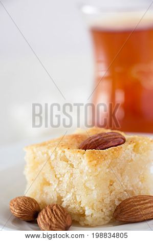 Basbousa Traditional Arabic Semolina Cake With Nuts Orange Blossom Water Vertical Copy Space White B