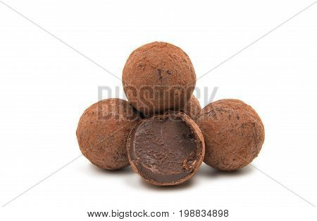 Candy truffles candy isolated on white background