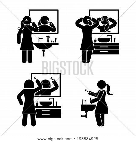 Personal hygiene bathroom set. Vector illustration of teeth brushing washing face make up combing hair pictogram