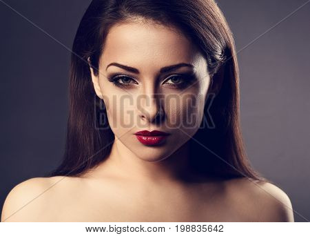 Beautiful Vamp Makeup Sexy Woman With Hot Red Lipstick And Long Eye Lashes Looking Expression On Gre