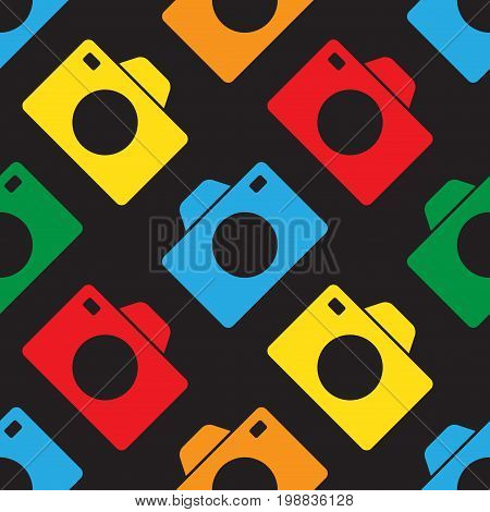 seamless pattern illustration - red blue green yellow and orange camera in front of a black background