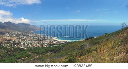 FROM CAPE TOWN, SOUTH AFRICA, LOOKING DOWN ON TO CAMPS BAY FROM LIONS HEAD