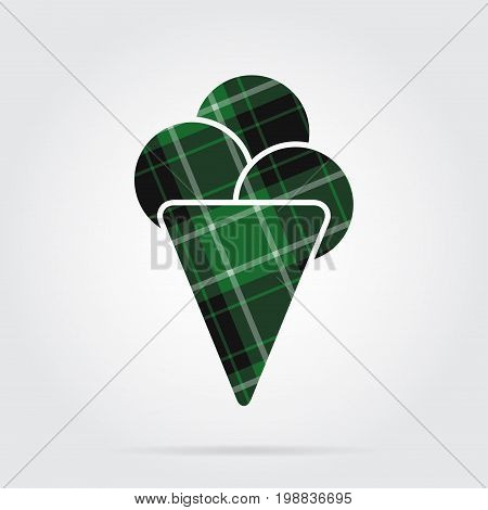 green black isolated tartan icon with white stripes - ice cream with three scoops and shadow in front of a gray background
