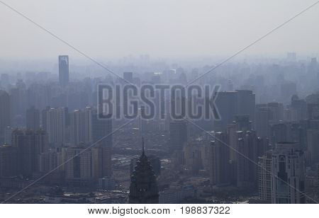 Clouds of smog over the skyline of Shanghai, China