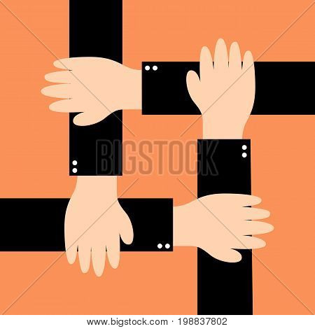 Four hands together team work. Cultural and ethnic diversity . Vector stock.