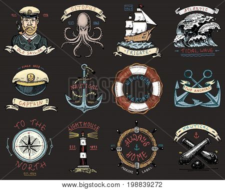 set of engraved vintage, hand drawn, old, labels or badges for anchor, steering wheel, captains cap, compass. Marine and nautical or sea, ocean emblems. always home