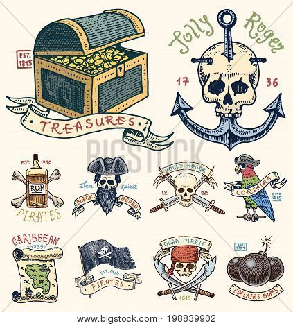 set of engraved, hand drawn, old, labels or badges for corsairs, skull at anchor, treasures, flag , Caribbean parrot. Jolly roger. Pirates marine and nautical or sea, ocean emblem