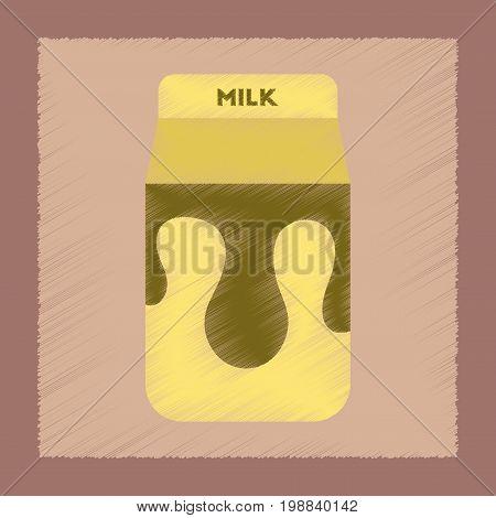 flat shading style icon coffee carton of milk