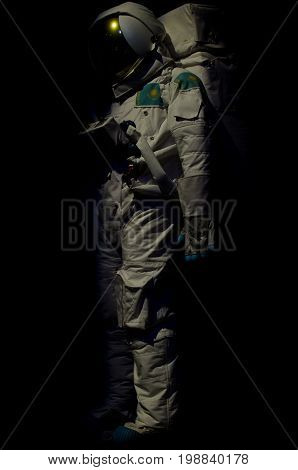 The costume of the Kazakhstan cosmonaut on a black background
