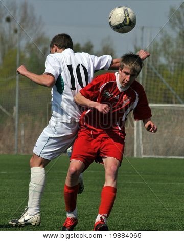 KAPOSVAR, HUNGARY - APRIL 10: Krisztian Garai (10) in action at the Hungarian National Championship under 17 game between Rakoczi FC and Debrecen April 10, 2010 in Kaposvar, Hungary.