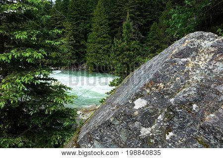A boulder in Montana's Glacier National park, with a white-water stream and forest in the background.