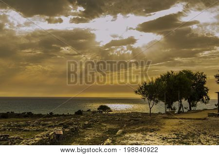 Storm threat in the archeological park of eraclea minoa sicily