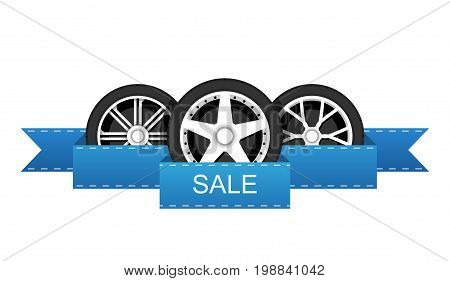 Wheel disk discount banner. Car tyre with disk for sale promo sign. Vector illustration.