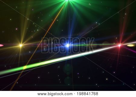 Laser Show From Multi-colored Rays Of Light In Dark In Disco. Warning, Laser Beams Dangerous For Cam