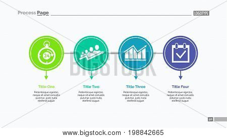 Four options process chart slide template. Business data. Step, diagram, design. Creative concept for infographic, presentation. Can be used for topics like management, strategy, training.