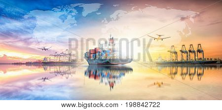 Global business logistics import export concept and transport industry of container cargo freight ship at sunset sky