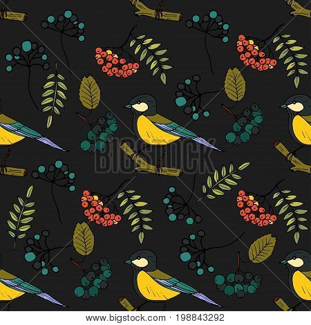 Cartoon doodle illustration. Seamless autumn vector pattern with tits and rowanberries.