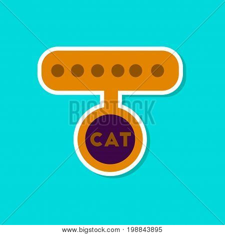 paper sticker on stylish background of cat collar