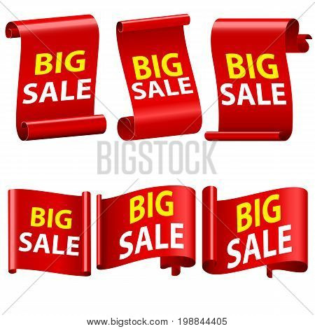 Big Sale Banne Ribbon Illustration. Set of red sale banners. Ribbons and sticker Paper scrolls. Red 3d detailed realistic curved paper sale ribbon banner. Sale banner Realistic Red paper ribbon