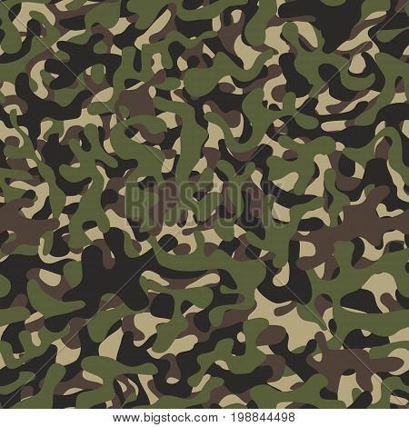 Camouflage pattern background seamless. Military camouflage seamless pattern. Four colors. Woodland style camouflage pattern. Classic clothing style masking camo repeat print.