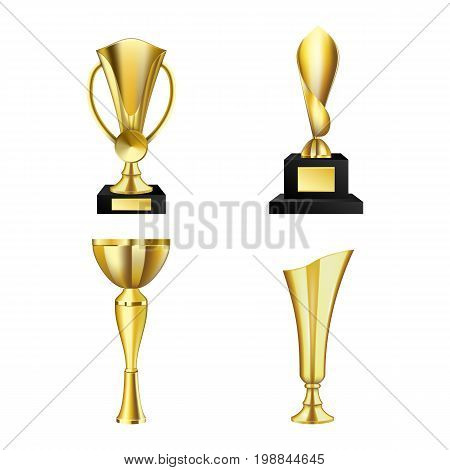 Golden trophy cups collection isolated on white. Set of golden trophies. Beautiful golden trophy cups and awards of different shape realistic set isolated on white background vector illustration.
