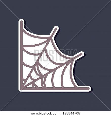 paper sticker on stylish background of spider's web