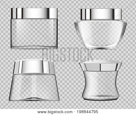 Set of transparent cosmetic tubes. Vector. Cosmetics skincare empty glass package samples assortment realistic set bottles on transparent background.