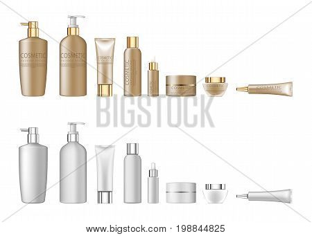 Set realistic package for cosmetic product. Collection of white blank template of container, tube, bottle. 3d white realistic cosmetic package set empty tubes on white background vector illustration