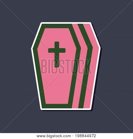 paper sticker on stylish background of halloween coffin