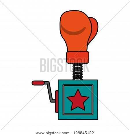 surprise box with boxing glove funny or joke item icon image vector illustration design