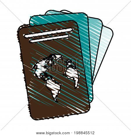 passport with planet on cover icon image vector illustration scribble