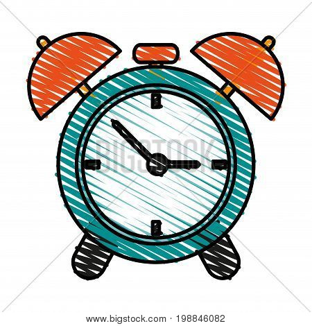 analog alarm clock icon image vector illustration scribble