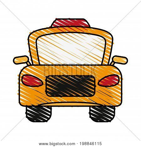 taxi frontview icon image vector illustration scribble