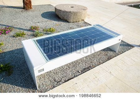 Bench with solar panel and mobile phone charger at the waterfront in Njivice island of Krk Croatia.