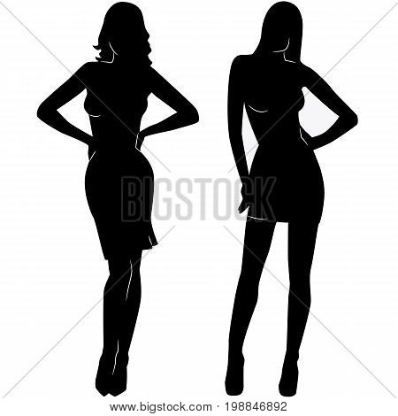 Two sexy woman silhouettes in short dresses