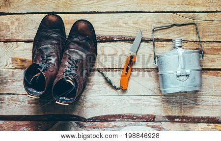 Hiking Accessories Boots Knife Dishes. Survival Bushcraft Adventure Discovery Concept