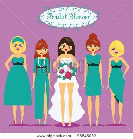 Bride with Bridesmaids. Woman in fashionable dresses. Bridal shower, hen party vector illustration in cartoon style