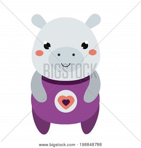 Cute hippo in purple jumpsuit. Cartoon kawaii animal character. Vector illustration for kids and babies fashion. Print design