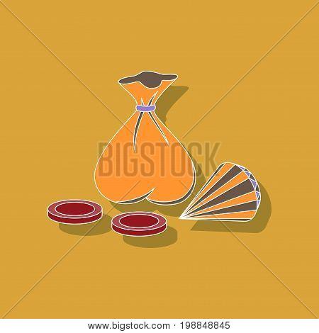 paper sticker on stylish background bag of jewels