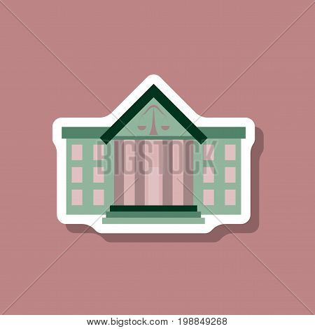 paper sticker on stylish background courthouse financial