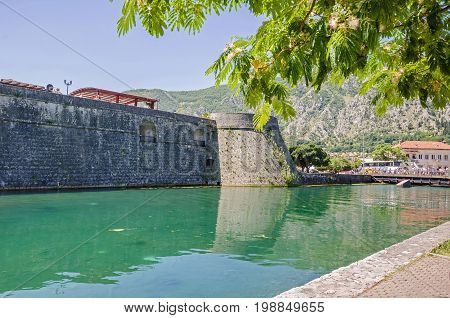 Venetian fortifications of old town of Kotor included in UNESCO's World Heritage Site list as part of Venetian Works of Defence. The West side of the Kotor town wall.
