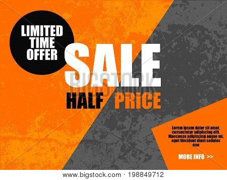Sale Half Price Banner In Orange Gray Color. Limited Time Offer In Circle. Diagonal Background. Blac